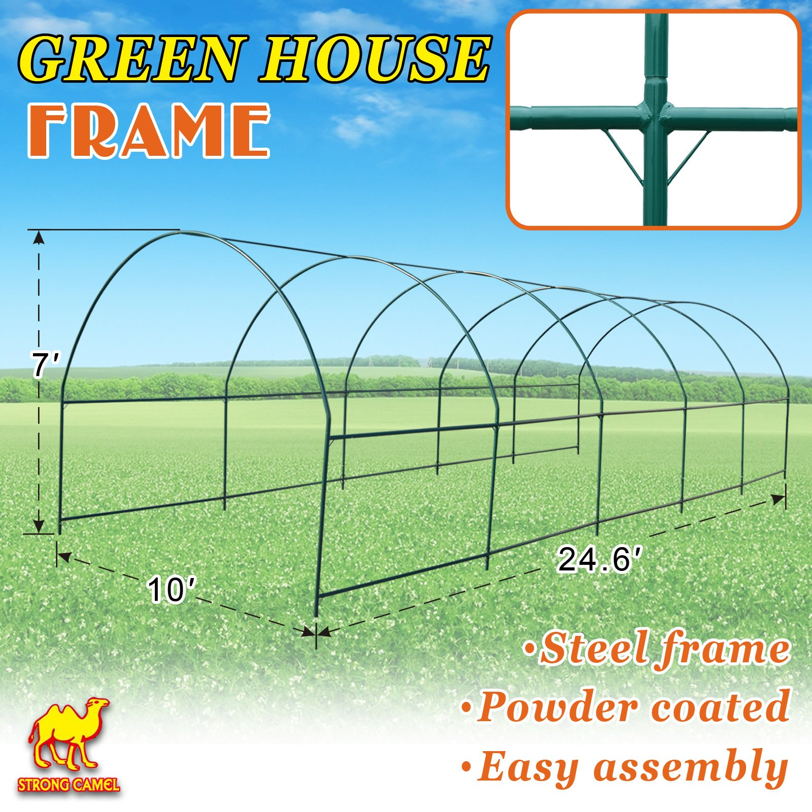 Strong Camel Multi-use Support Arch Frame for Climbing Plants/Flowers/Vegetables (24.6'X10' X 7') by Strong Camel