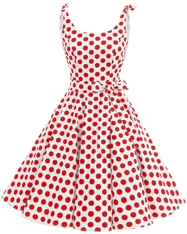 TALLA XXL. Bbonlinedress Vestidos de 1950 Estampado Vintage Retro Cóctel Rockabilly con Lazo White Red Bdot XXL