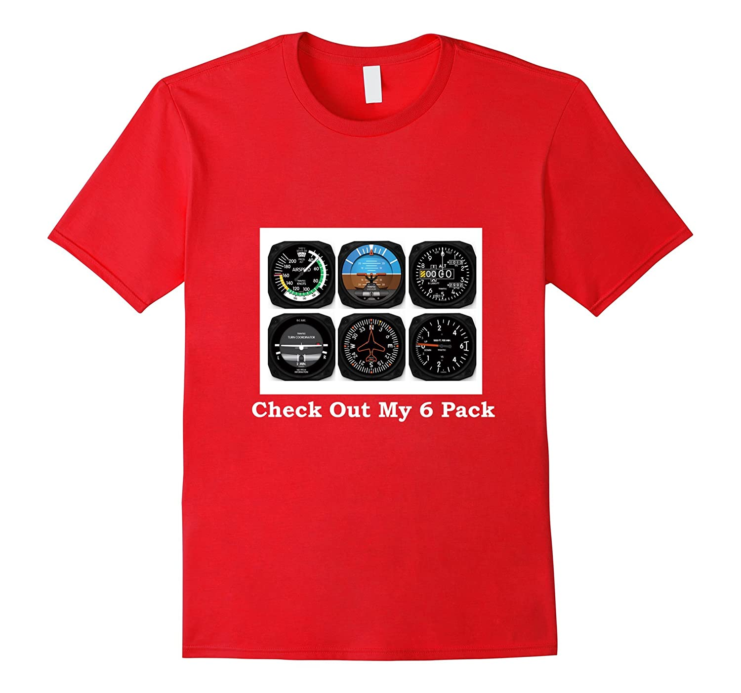 Aviation Airplane T-Shirt - Instrument Check Out My 6 Pack-Art