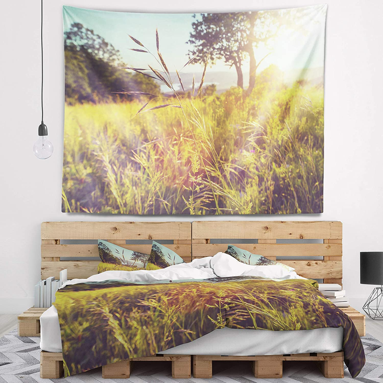 Designart TAP12684-60-50 ' Green Summer Meadow' Landscape Blanket Décor Art for Home and Office Wall Tapestry Large: 60 in. x 50 in. Created On Lightweight Polyester Fabric