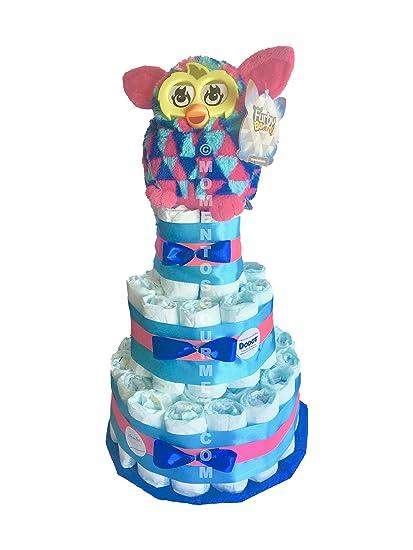 Tarta de pañales DODOT Furby colores (Talla 2 (3-6 kg))