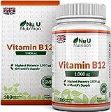 Vitamin B12 Methylcobalamin 1000mcg 180 Tablets (6 Month's Supply) Vitamin B12 1000mcg, Sublingual B12 by Nu U Nutrition