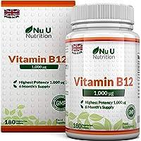 Vitamine B12 1000 µg   Méthylcobalamine   Cure de 6 mois/180 Comprimés   Compléments alimentaires de Nu U Nutrition