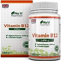 Vitamine B12 1000 µg - Méthylcobalamine - Cure de 6 mois/180 Comprimés - Compléments alimentaires de Nu U Nutrition