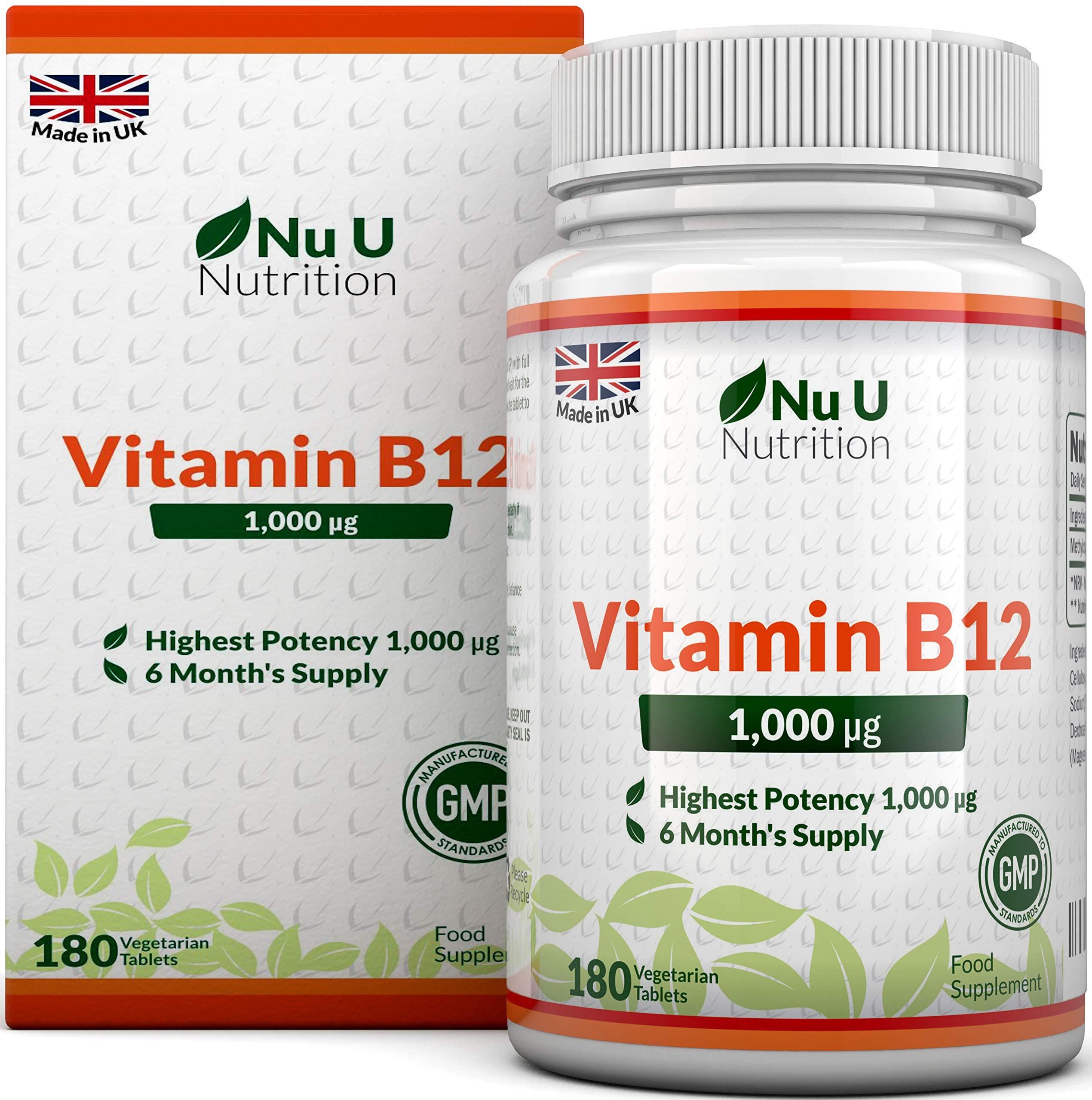 Vitamin B12 Methylcobalamin 1000mcg   180 Tablets (6 Month's Supply)   Vitamin B12 1000mcg   Sublingual B12 by Nu U Nutrition product image