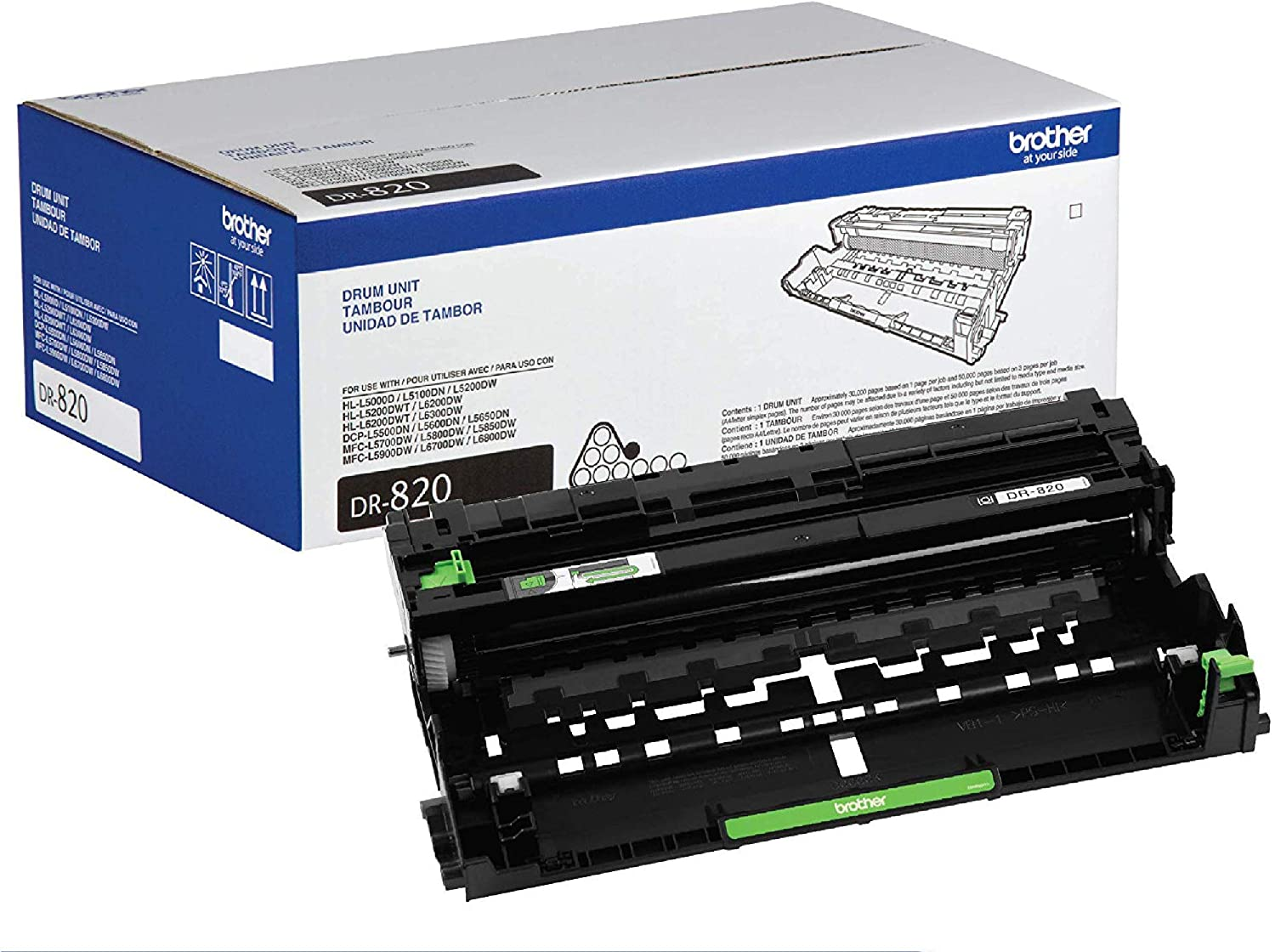 Brother Genuine Drum Unit, DR820, Seamless Integration, Yields Up to 30,000 Pages, Black: Office Products