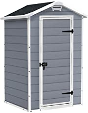 Keter Manor Outdoor Plastic Garden Storage Shed, Grey, 4 x 3 ft