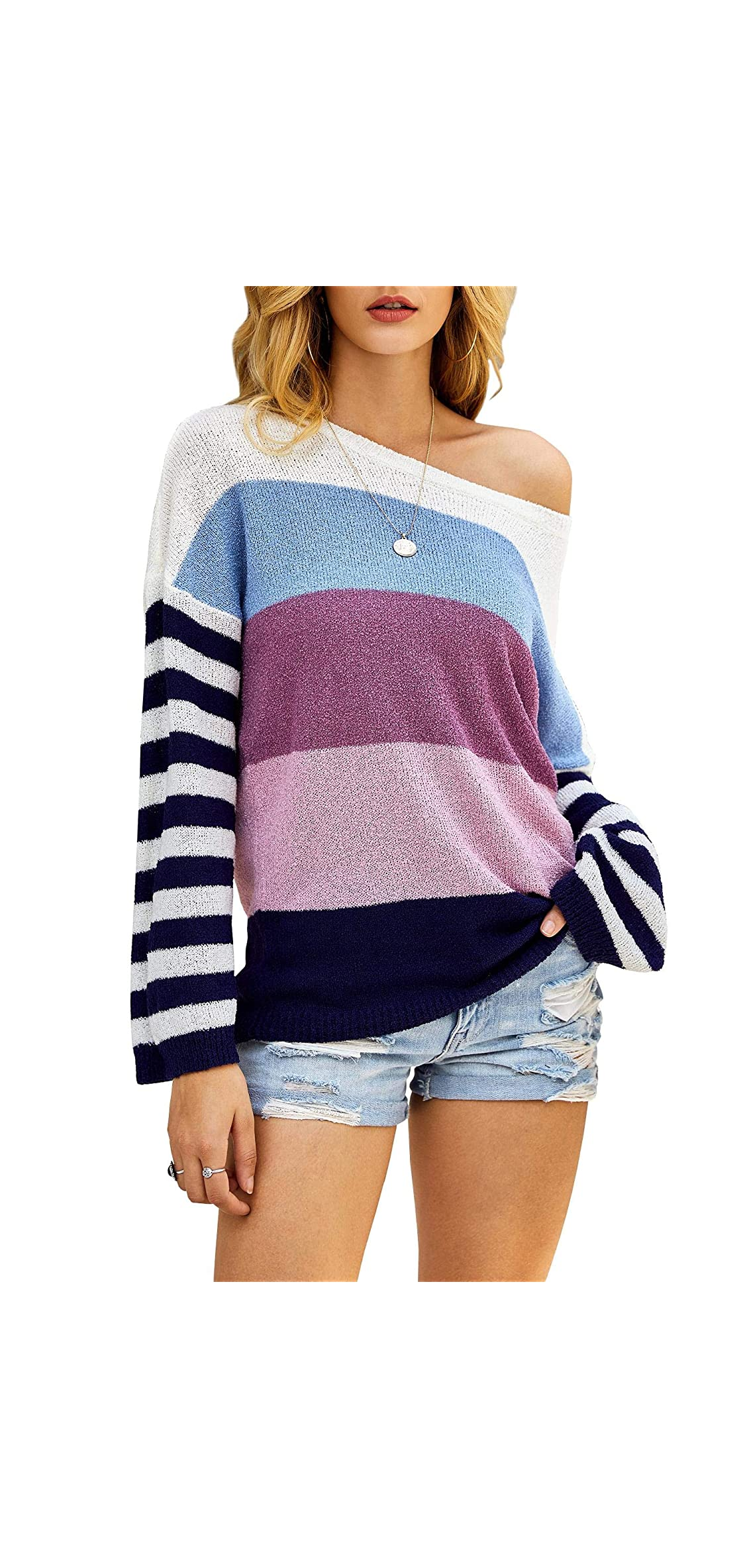 Womens Oversized Color Block Striped Crewneck Sleeve