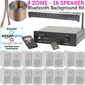 8 Zone, 16 x 60 W blanco montado en la pared Kit de altavoces HiFi