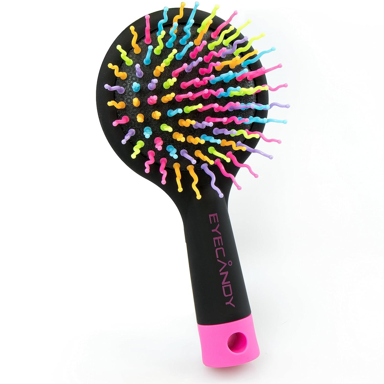 Styling Haarbürste mit Massagefunktion & Spiegel - Schwarz 15 x 8 x 2 cm - Bürste zum Frisieren & Föhnen - Grinscard