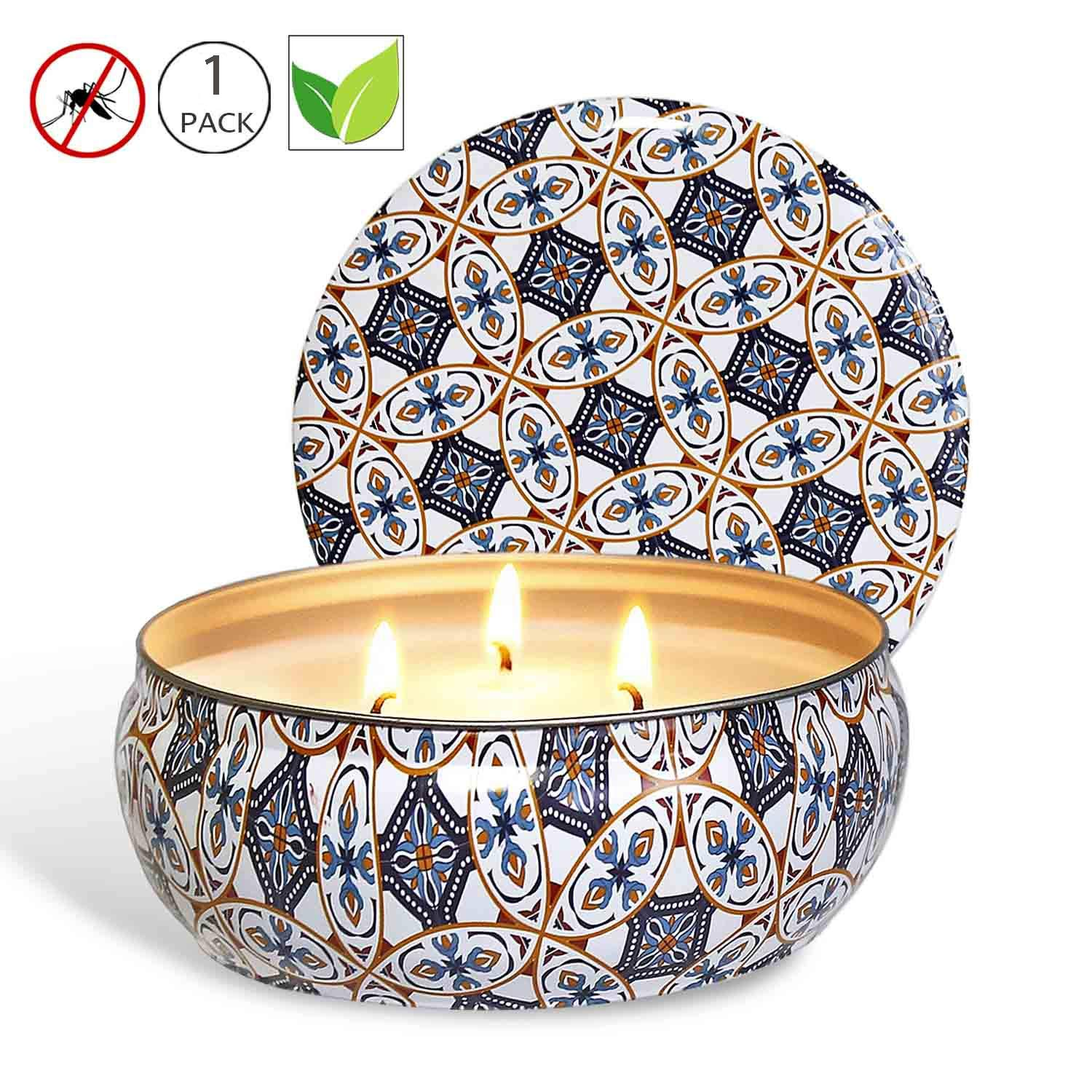YIH Citronella Candle Scented Soy Wax 3 Wick Tin, 75 Hour Burn, Outdoor and Indoor