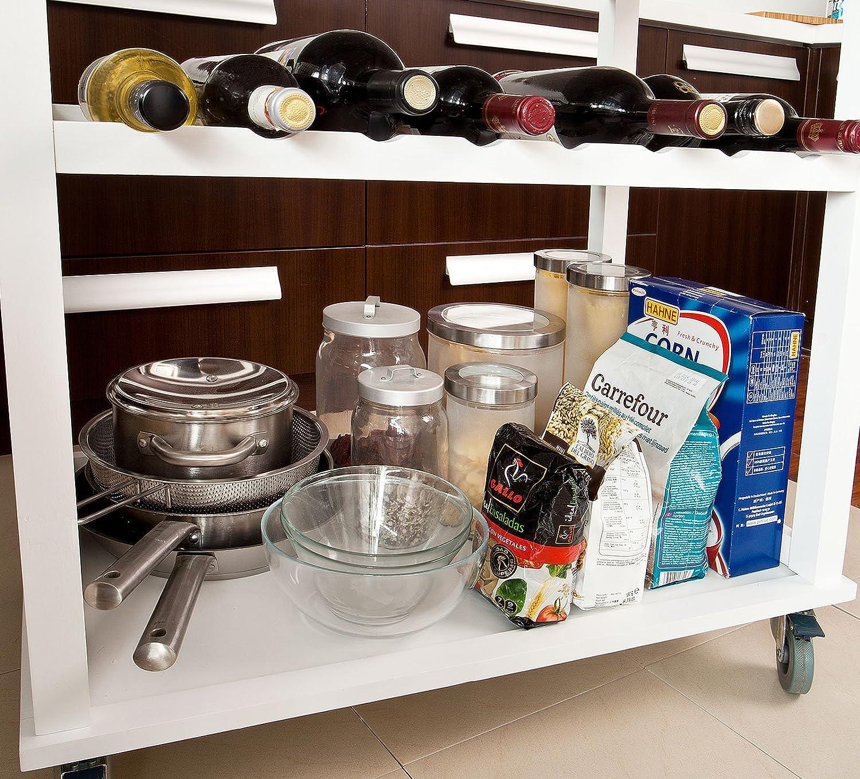 SoBuy® FKW08-WN, XXL Cocina carro carrito de servir con bambú plegable superior, 80 x 50 x 93 cm, la naturaleza + color blanco: Amazon.es: Hogar