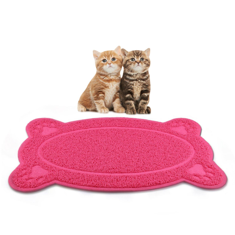 Miaosun Pet Tapis pour chat Grande taille Matière en PVC non toxique Litière Tapis lavable en machine et étanche Gris et rouge en option