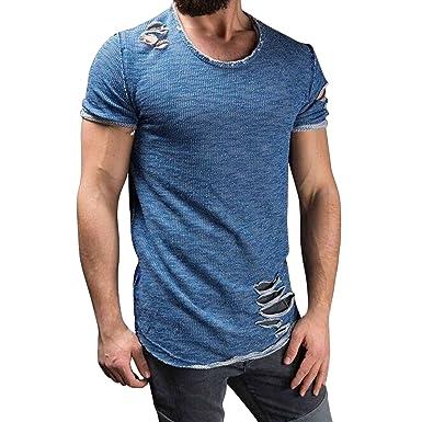 2582ada7f semen T-Shirt Homme Manche Court Col Rond Mode Troué Sweater Chemise ...