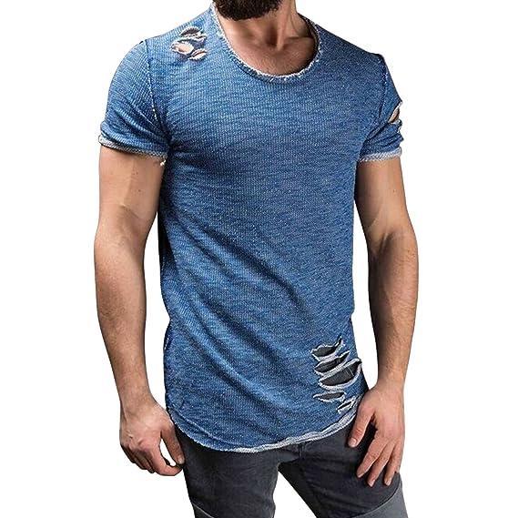 2cb3213bcc54a5 semen Herren T-Shirt Tank Top mit Löchern Destoryed Muskelshirt Slim Fit  Jogging Sport Streetwear Tops Sweatshirt  Amazon.de  Bekleidung