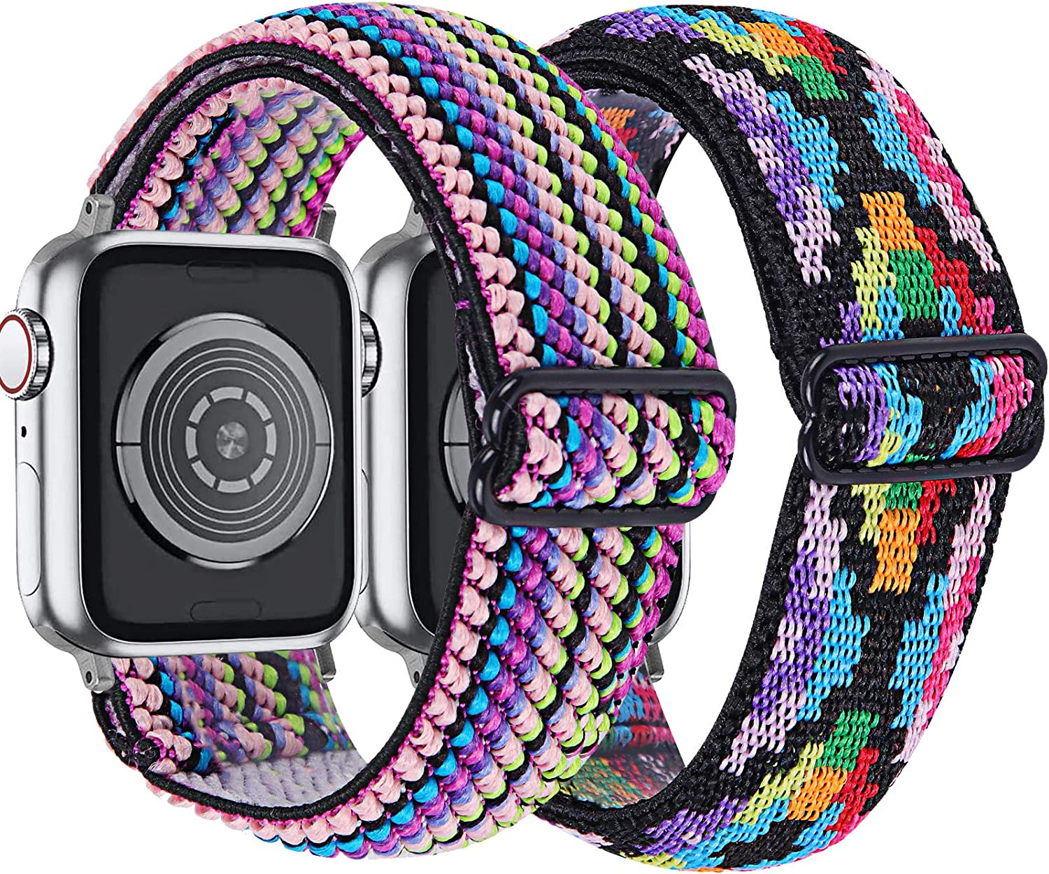 MEFEO 2-Pack Adjustable Elastic Apple Watch Bands Compatible with Apple Watch 38mm 40mm 42mm 44mm, Braided Pattern Nylon Sport Women Girls Bracelet Strap for iWatch SE Series 6/5/4/3/2/1 (Rainbow+Aztec Style Colorful, 38mm/40mm)