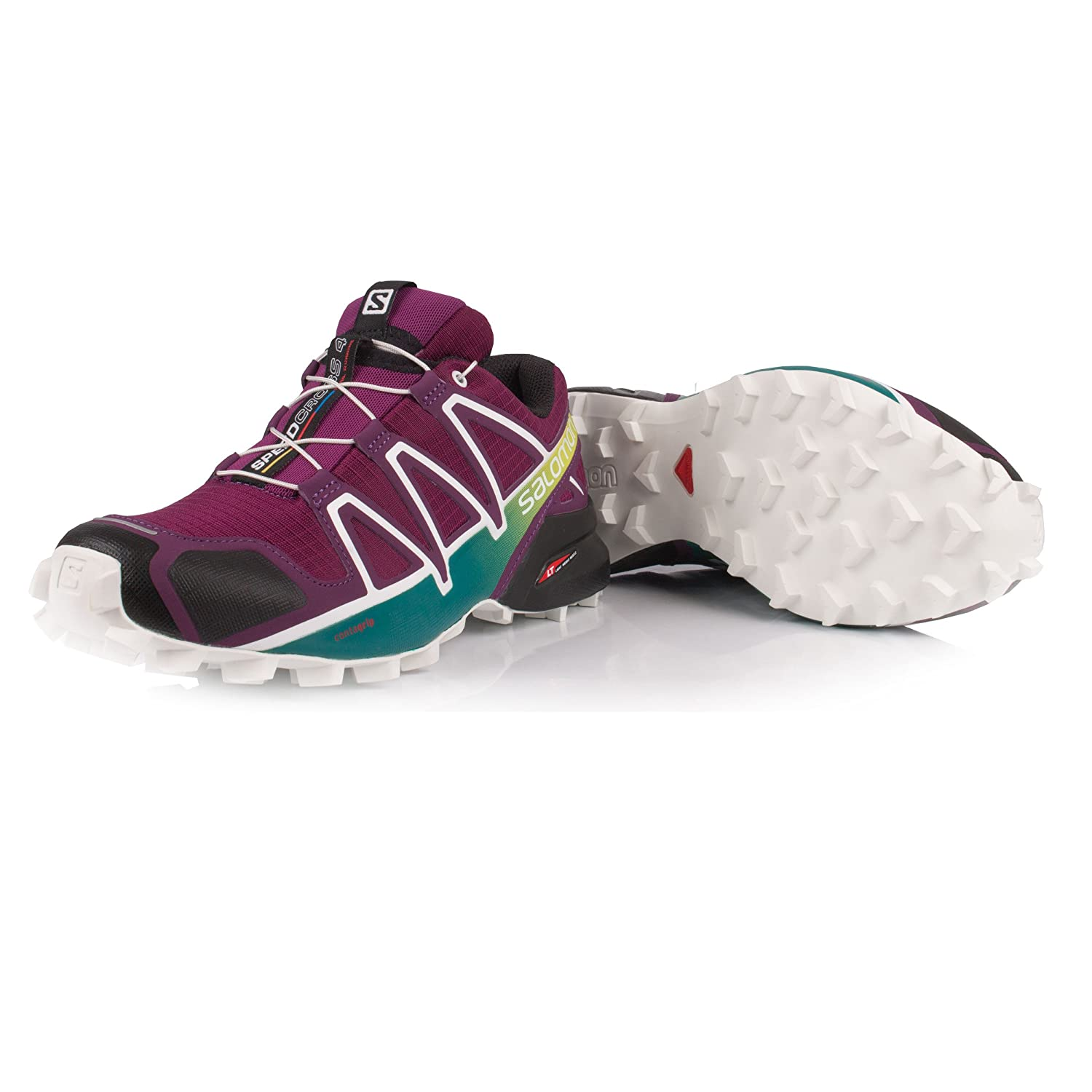 Salomon Women's Speedcross 4 W Trail Runner B077BKVM94 10 B(M) US|Dark Purple/White/Deep Lake