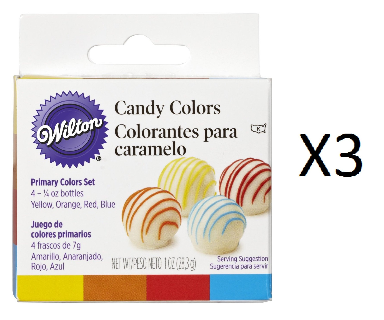 Bulk Buy: Wilton Candy Colors 1/4 Ounce 4/Pkg Yellow/Orange/Red/Blue W1913-1299 (3-Pack)