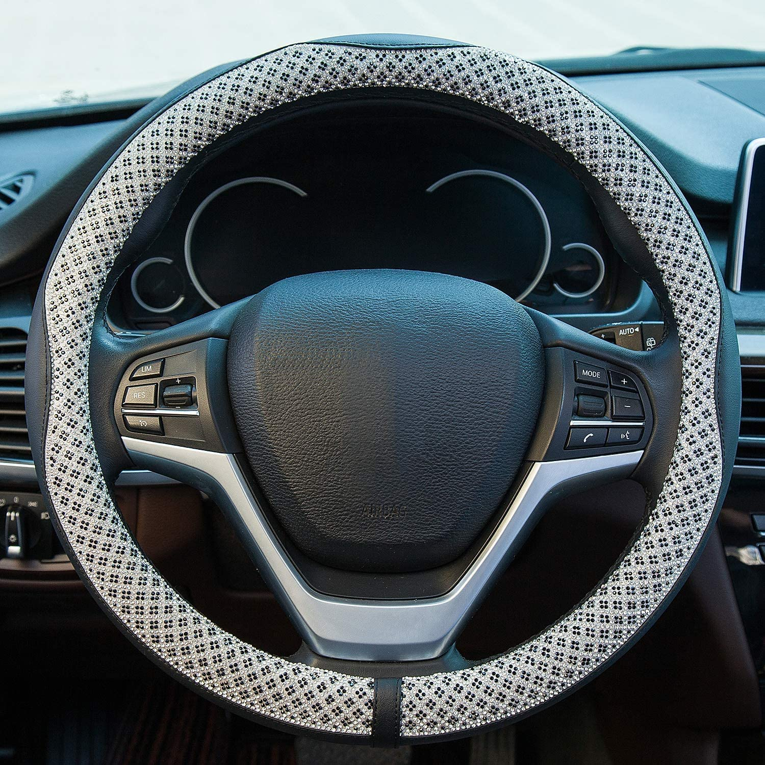 Black Valleycomfy Universal 15 inch Diamond Crystal Leather Steering Wheel Cover for HRV CRV Accord Corolla Prius Rav4 Tacoma Camry X1 X3 X5 335i 535i,etc