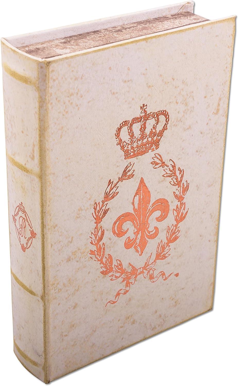Cofanetto regalo Fleur de Lis morbida in similpelle Deko libro Box con rame con impresso colore crema