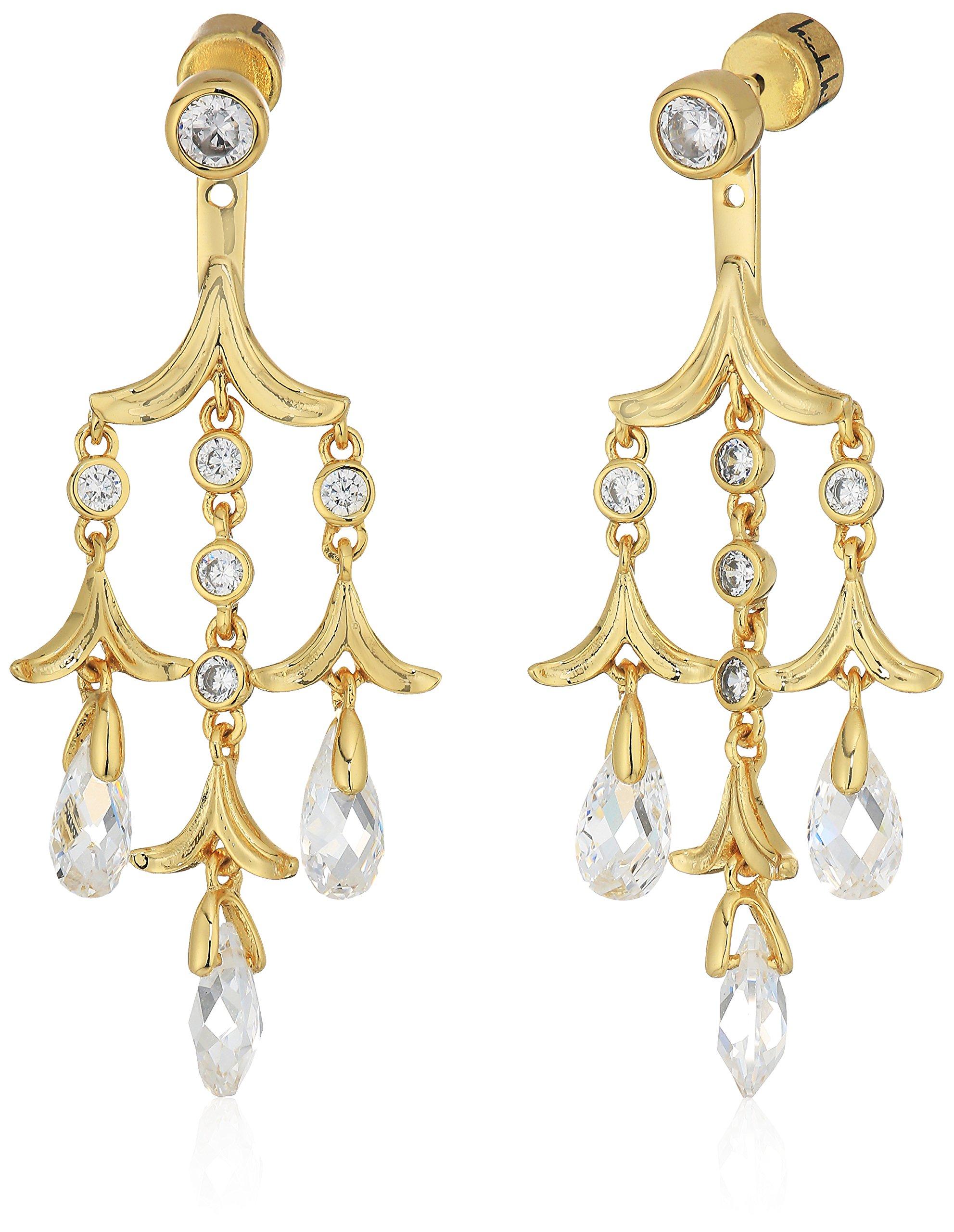 Nicole Miller Briolette Triple Drop Chandelier Gold/Clear Earrings Jacket