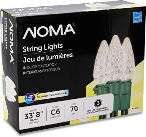 Noma Led Christmas Lights 70 Count C6 Classic Clear White Bulbs 23 8 String Light Ul Certified Outdoor Indoor