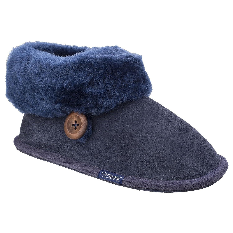 Cotswold Womens/Ladies Wotton Sheepskin Warm Premium Bootie Slippers 3 Dark Blue