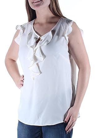 0594785e98c6a Maison Jules Ruffled Flutter-Sleeve Top Medium at Amazon Women s ...