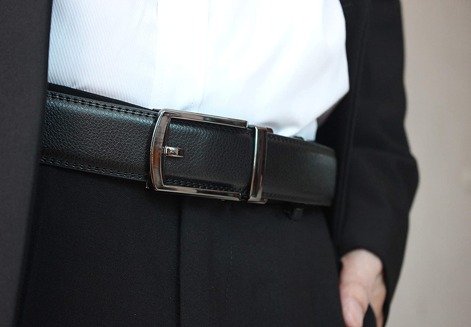 Belts for Men Leather Black,Mens Dress Ratchet,Removable Buckle,As seen as on Tv