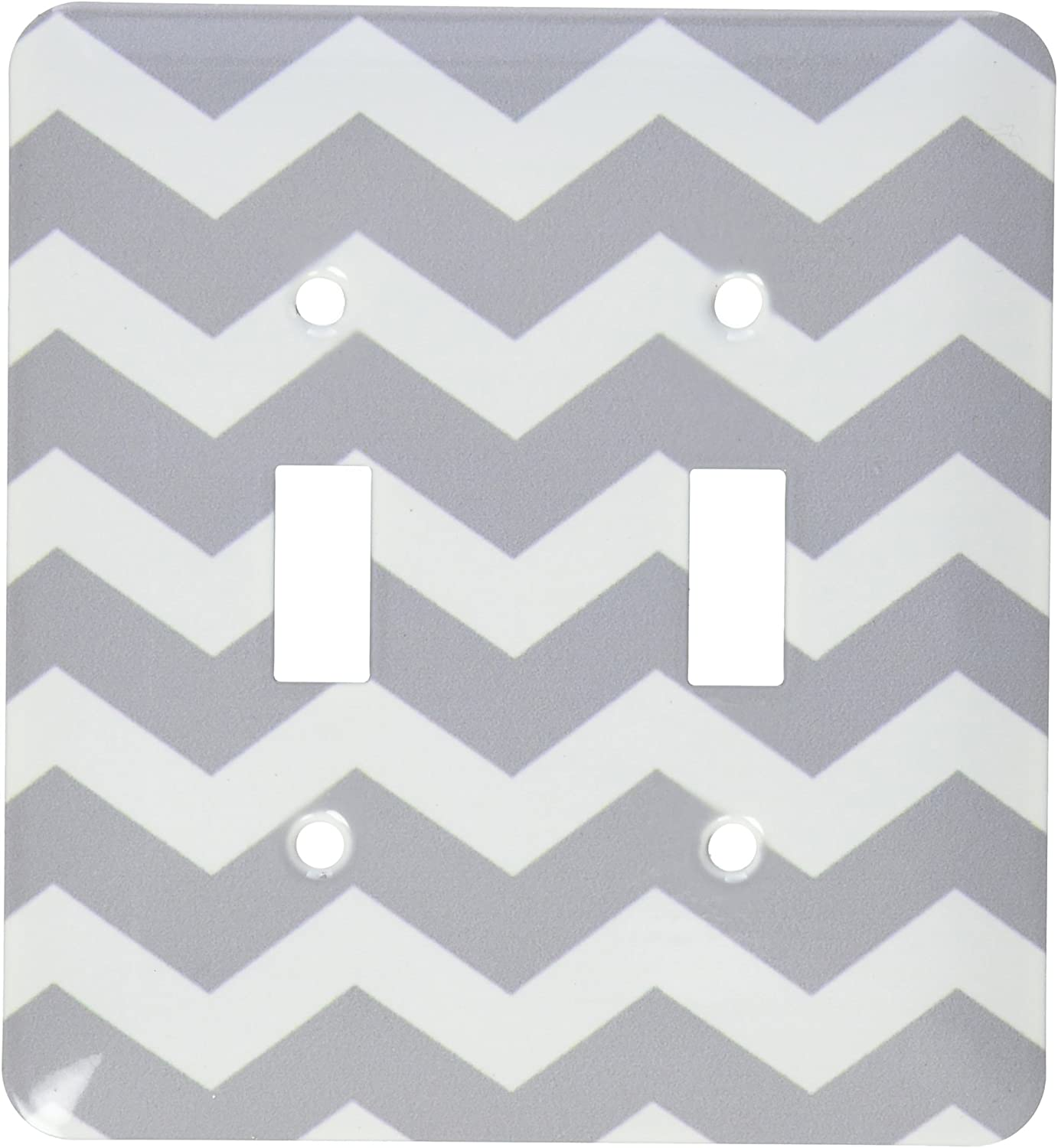 3dRose lsp/_179676/_6 Charcoal Grey and White Zig Zag Chevron Dark Gray Zigzag Pattern Light Switch Cover