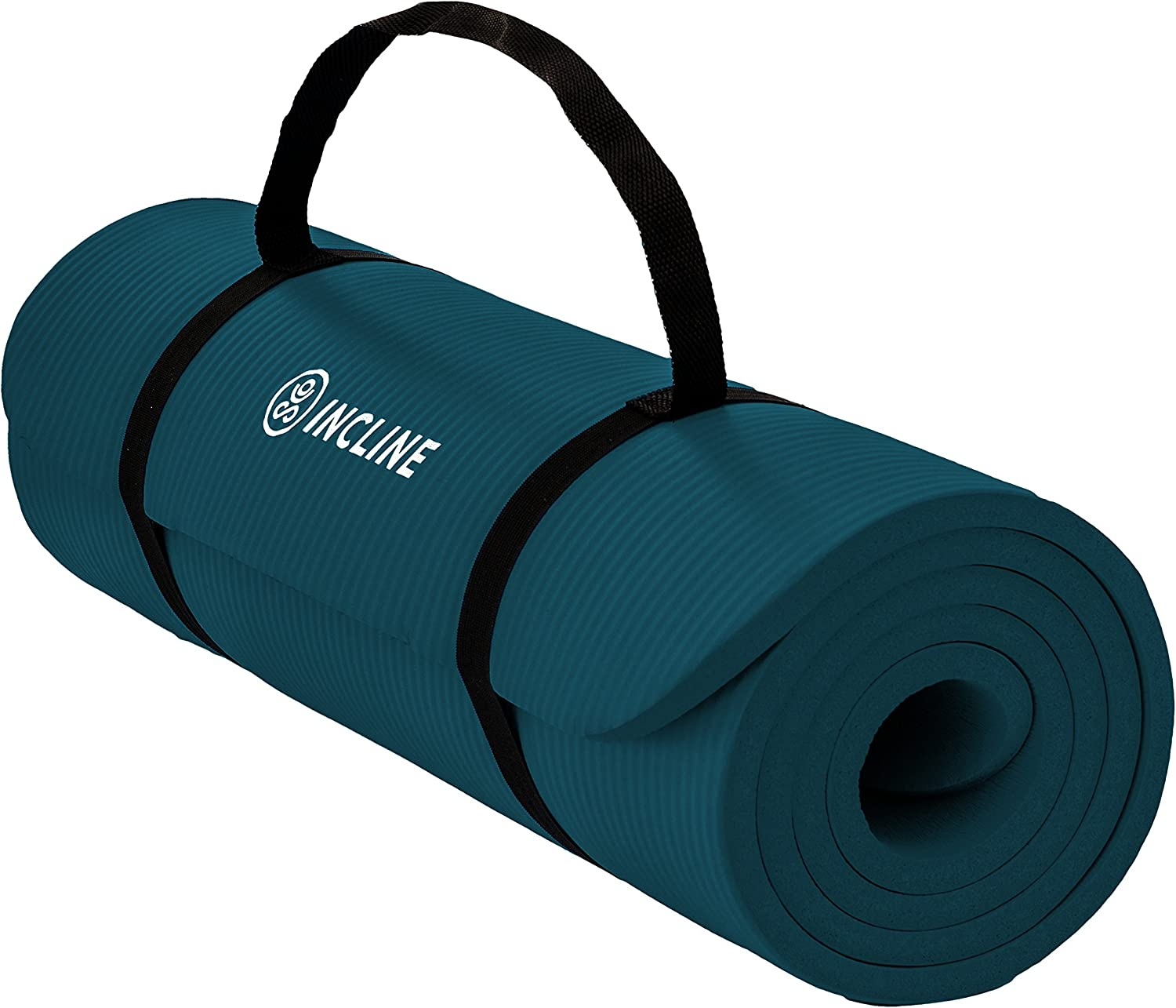 Incline Fit Extra Thick Exercise Mat w Carrying Strap – Non Slip Comfortable Workout Mat For Yoga, Pilates, Stretching, Meditation, Floor Fitness Exercises