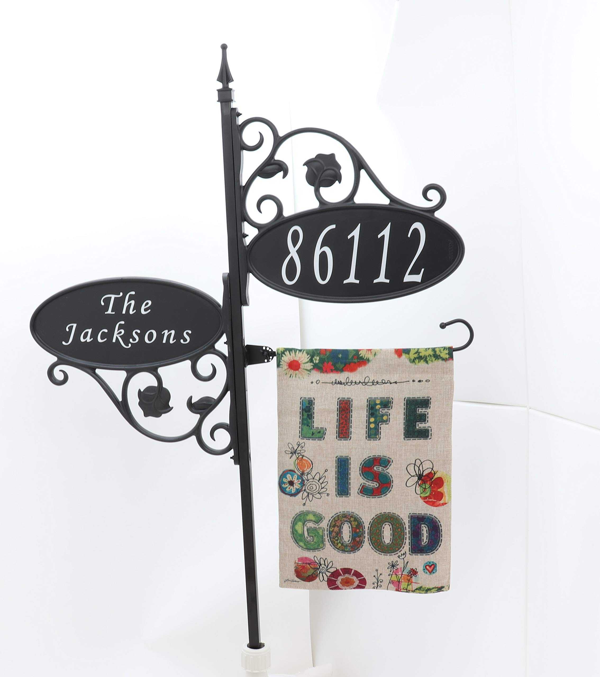 Address America Double Park Place with Garden Flag (47'' Pole, Life is Good)