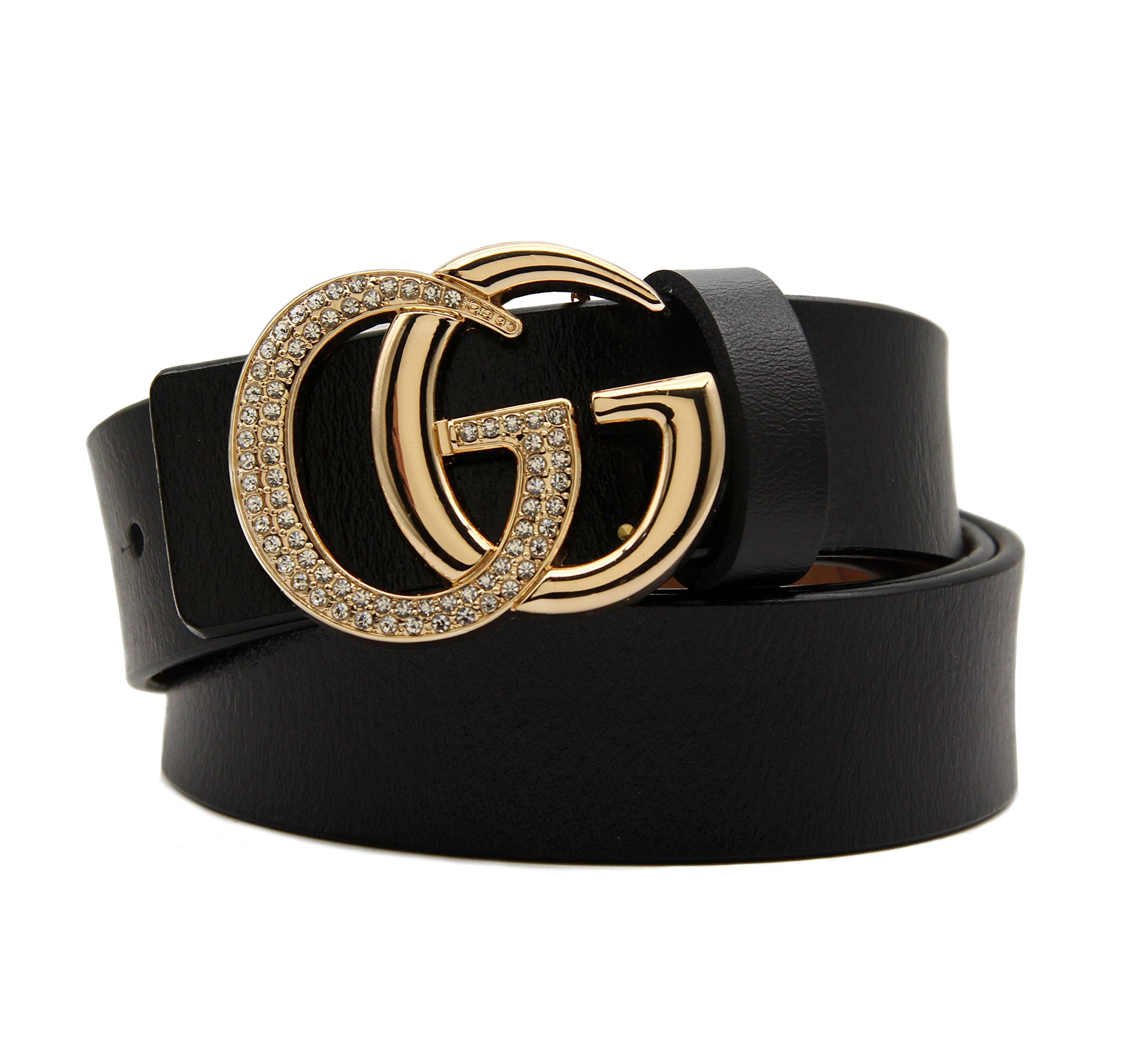 Women's Cowhide Leather Belt Gold Zircon Buckle for Pants Jeans Shorts Ladies Design Genuine Belts for GAGOTE (105cm/41.3'', pants size 26''-30'', Black) by GAGOTE (Image #1)