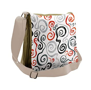 593cf853e Amazon.com | Lunarable Grunge Messenger Bag, Funky Uneven Swirls Spirals,  Unisex Cross-body | Messenger Bags