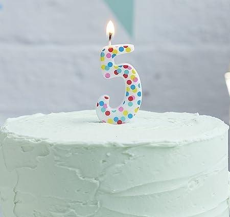 Ginger Ray Polka Dot Spotty Birthday Cake Designer Candle Number 5