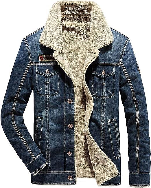 Sherpaメンズウール裏地デニムジャケット、秋のトラック運転手ジャケット、冬のデニムジャケット、適しています:屋外、パーティー、ビジネス