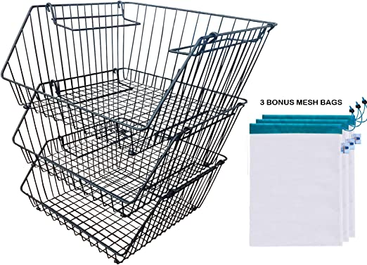 "LuxUnik Wire Baskets For Storage, Stackable Bins, Fruit Basket, 10 Tier  Basket Stand, Pantry Wire Baskets, Vegetable Storage, (10.10""x10.10""x10.10""),  Onion ..."