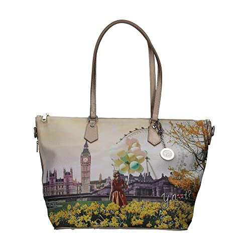 Borsa Y Not London Flower J-397 Shopping grande  Amazon.it  Scarpe e borse fed0d7e3cdc