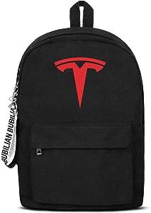 School College Black Bookbag with Pencil Case Tesla-Logo- Lightweight Travel Laptop Canvas Backpack
