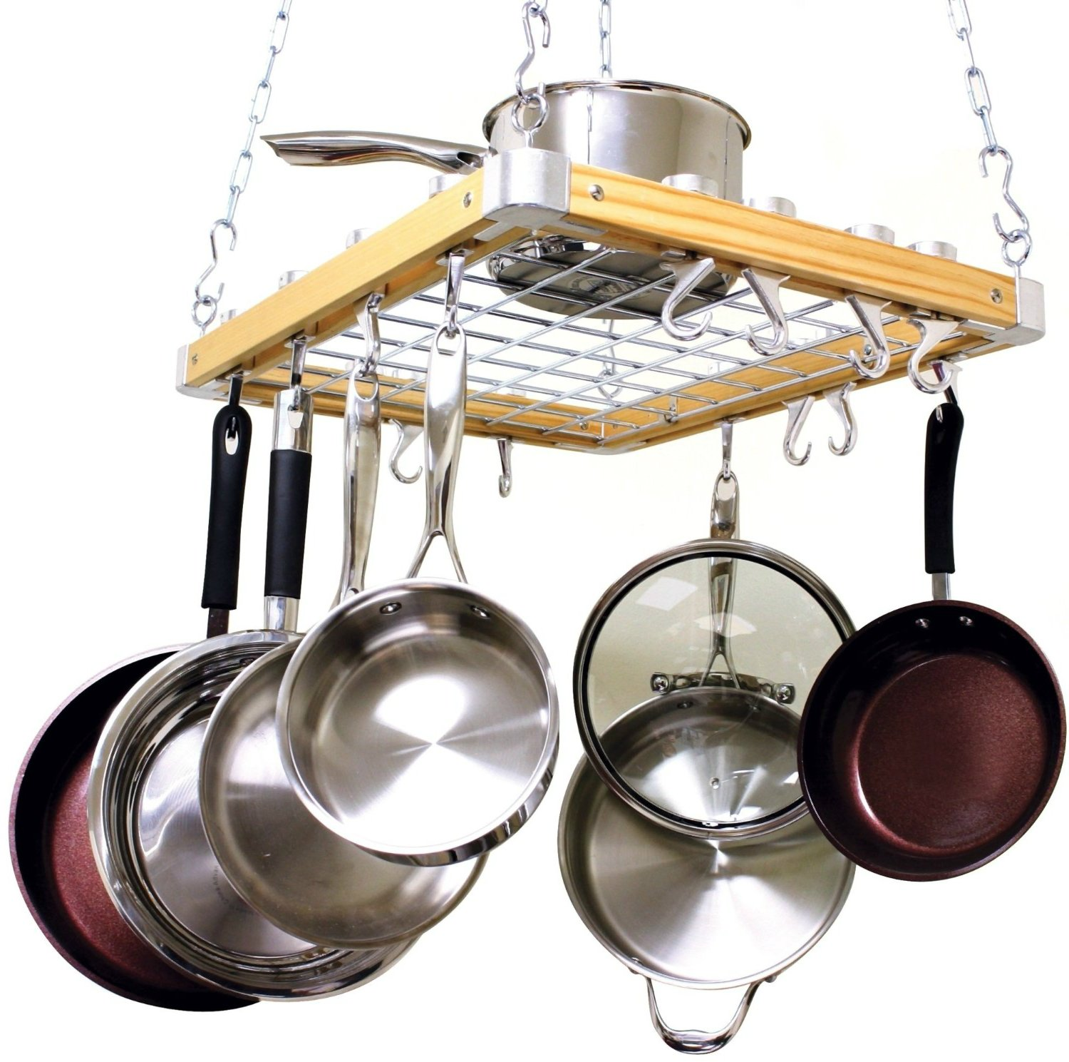 Amazon com hanging pot pan rack kitchen ceiling cookware set holder storage skillet frying hooks hangers kitchen dining