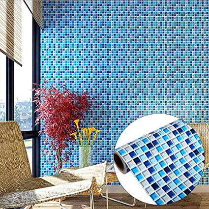 Yenhome Removable Pvc Wall Stickers For Bathroom Wall Decor Waterproof Self Adhesive Wallpaper For Kitchen Backsplash Peel And Stick Tile Wall Decals