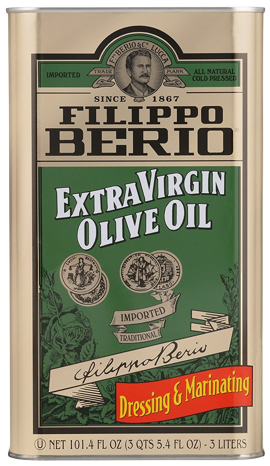 Filippo Berio Extra Virgin Olive Oil, 101.4-Ounce, 4-Pack
