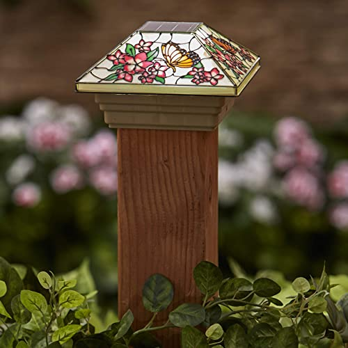 The Lakeside Collection Faux Stained Glass Solar Post Cap Light with Butterfly Motif