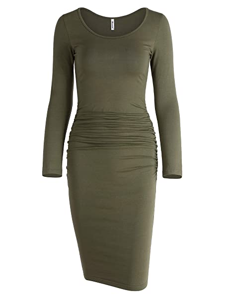 e1f076befb1a Missufe Women s Long Sleeve Ruched Bodycon Knee Length Sheath Maternity T- Shirt Fitted Beach Dress