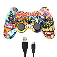 Wireless Double Vibration Game Controller for Sony PS3, Bluetooth Sixaxis Gamepad Remote for Playstation 3 PS3 (Comic)