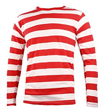 Amazon.com: Adult Men's Striped Long Sleeve Shirt Red White: Clothing