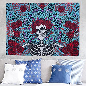 Fashion Sugar Skull Rose Tapestry Wall Hanging Mandala Wall Art Tapestries Skull Floral Tapestry Colorful Skeleton Flowers Tapestry for Bedroom Room Living Room Decorations (150cm x130cm)