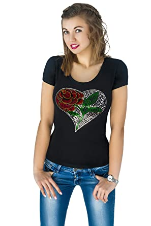 4e47e67ca3c6da Fashion Women's t-Shirt with Sequins Cute Sparkly Applique Heart. Small.