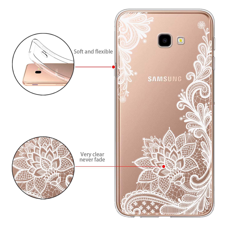 Funda Samsung Galaxy J4 Plus Flor Blanca Suave TPU Silicona Anti-rasguños Protector Trasero Carcasa para Samsung Galaxy J4 Plus 2018 (6.0 Pulgada) con Dos ...