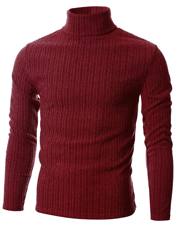 GIVON Mens Slim Fit Wide Ribbed Cotton Blend Turtleneck Pullover